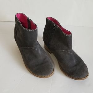 Toms Leila Grey Suede Zip Up Bootie Size 3